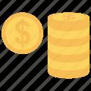 coins, dollar, earning, money, saving icon