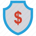 cash, dollar, protect, security, shield icon