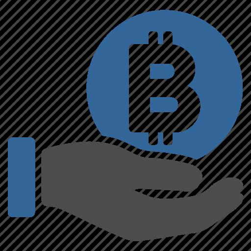 bitcoin, donation, hand, money, payment, salary, thai baht icon