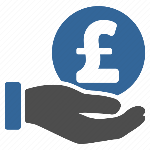 buy, coin, donation, hand, payment, pound sterling, salary icon