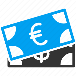 banking, banknotes, currency, dollar banknote, euro, money, salary icon