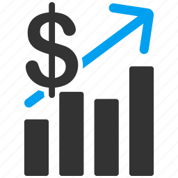 arrow, chart, dollar, income, money, sales up, statistics icon