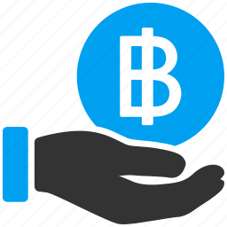 baht, bitcoin, coin, earnings, payment, thai, thailand icon
