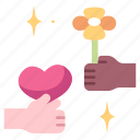 flower, hand, love, floral, give, present, heart