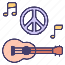 guitar, peace, music, love, hippie, musical, vintage icon