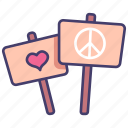 love, peace, heart, banner, freedom, protest icon