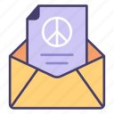 peace, mail, freedom, message, love icon