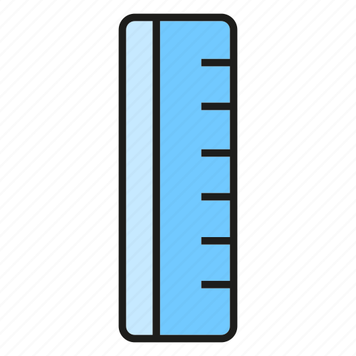 Stationery, ruler, scale, measure, size icon