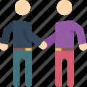 hand, men, shake, standing, stick figure icon