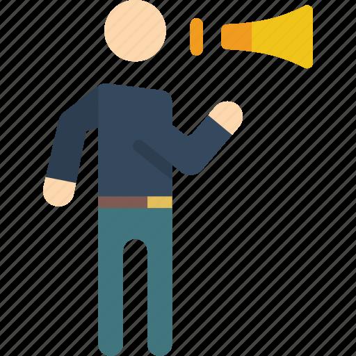 man, megaphone, shouting, standing, stick figure icon