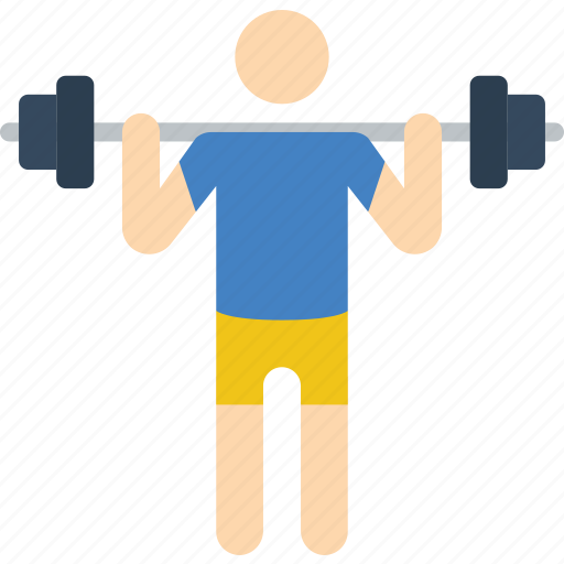fitness, man, muscle, stick figure, weightlifting icon