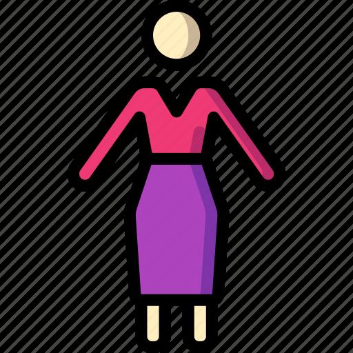 plain, standing, stick figure, woman icon