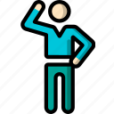 man, standing, stick figure, waving icon