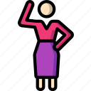 standing, stick figure, waving, woman icon