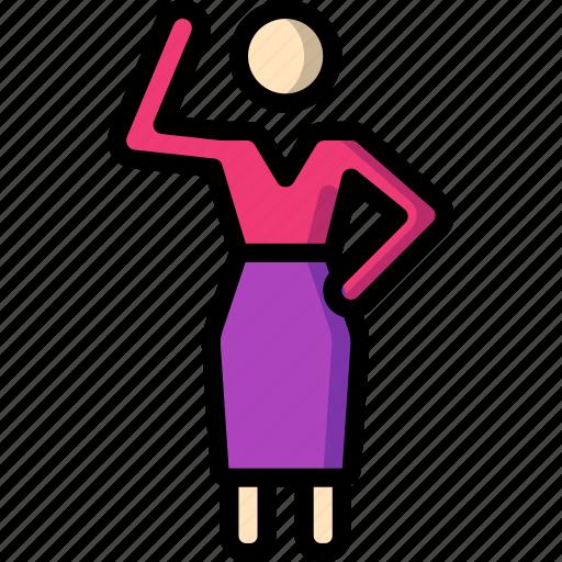 standing, stick figure, waving, woman icon