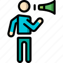 man, megaphone, shouting, standing, stick figure icon