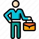 business, man, standing, stick figure, suitcase icon