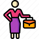 business, standing, stick figure, suitcase, woman icon