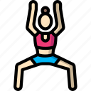 fitness, pose, stick figure, warrior, woman, yoga icon