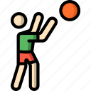 ball, basketball, man, sports, stick figure icon