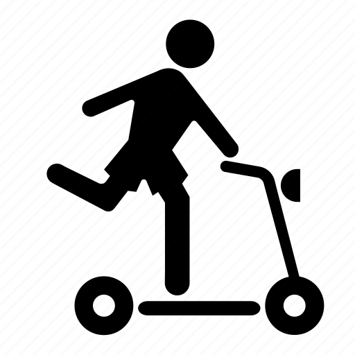 boy, kid, people, person, playing, scooter, skateboard icon
