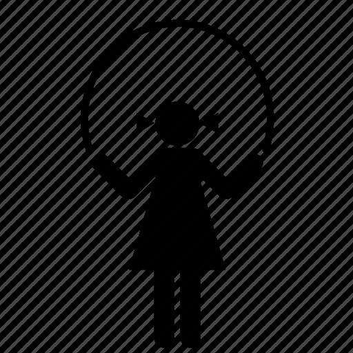 girl, kid, people, play, playing, rope, skip icon