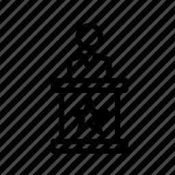 lectern, man, people, person, speech icon