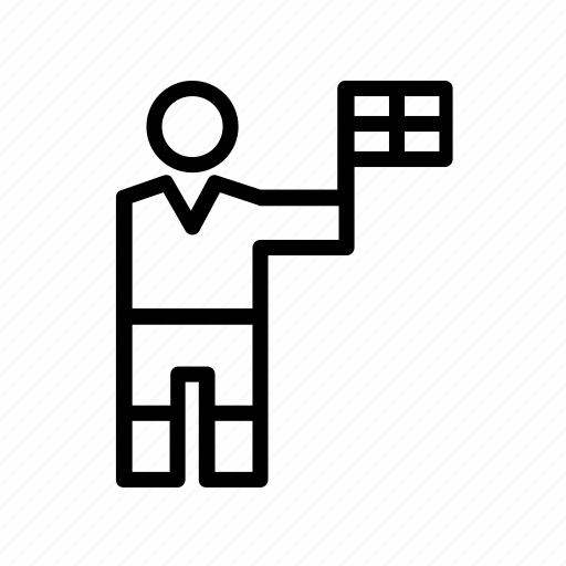 football, linesman, pennant, people, person, referee, soccer icon