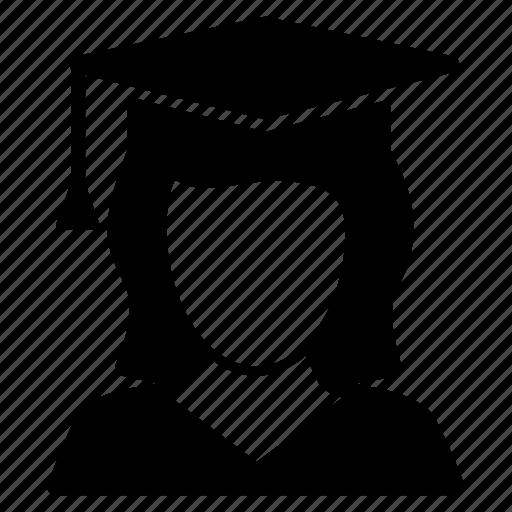 avatar, female, graduate, scholar, student icon
