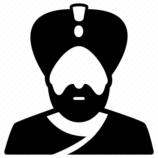 indian, maharaja, man, person, turban, turbaned icon
