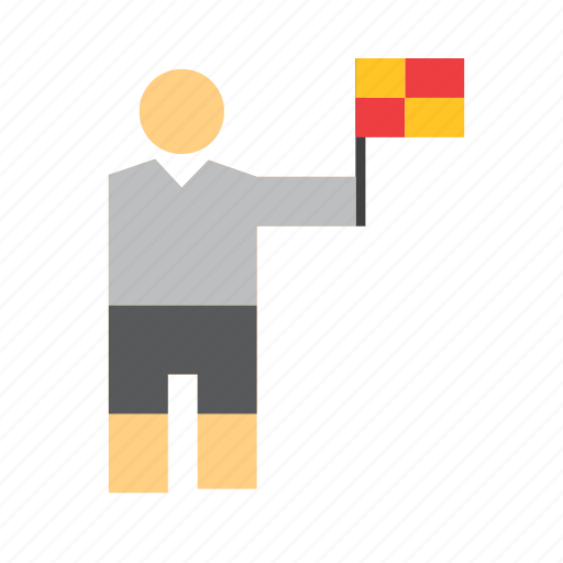 football, linesman, man, pennant, people, referee, soccer icon