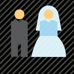 bride, groom, love, man, people, wedding, woman icon