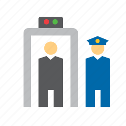 control, detector, guard, metal, people, police, security icon