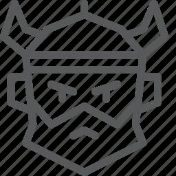 avatar, beard, face, hat, horn, viking, warrior icon