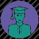 college, graduate, graduation cap, graduation outfit, master, master degree, student icon