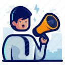 announcement, man, megaphone, newsletter, notification, user icon