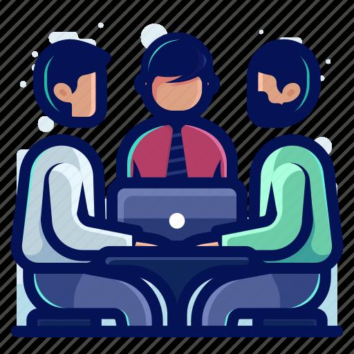 chat, communication, computer, conversation, laptop, talk icon