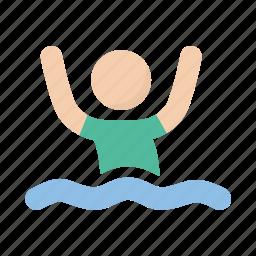 drowning, help, sea, swim, swimming icon