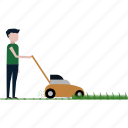 ecology, garden, green, job, lawn, lawn mower, nature icon