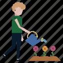 flowerbed, flowers, garden, gardener, girl, watering, woman icon