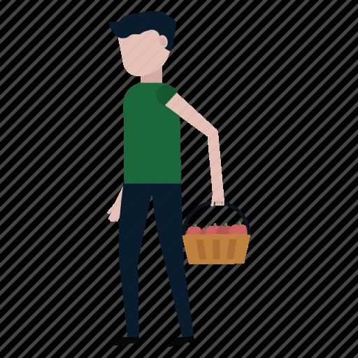apples, basket, carry, fruit, gardening, harvesting, man icon