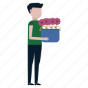 carry, flowers, garden, gardener, man, nature, spring icon