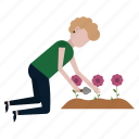 flowers, garden, gardener, nature, plant, woman icon