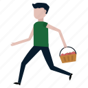 apples, basket, fruit, gardener, harvesting, run icon
