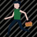 apples, basket, delivery, fruit, garden, gardener, run icon