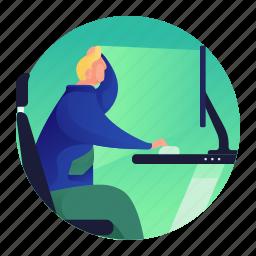 computer, home, house, man, monitor, screen