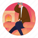 fireplace, home, interior, man, sitting