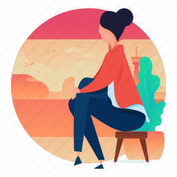 home, house, interior, sitting, woman