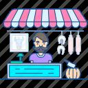 boner, butcher, meat killer, salesman, seller, slaughterer icon