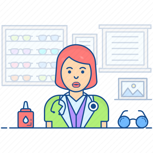 lady doctor, optician, optometric physician, optometrist icon